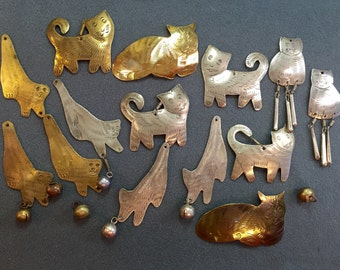 Vintage Handmade Metal Cats and Bells from Thailand-1980's.  Free shipping