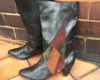 Stylish leather and suede 1980s boots