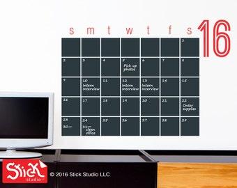 2017 Chalkboard Calendar - BIG - Chalkboard Calendar Decal - Blackboard Wall Calendar Sticker - Modern Chalkboard Calendar Wall Decal - 094