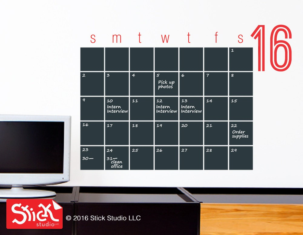 Chalkboard Calendar Decal : Chalkboard calendar big decal