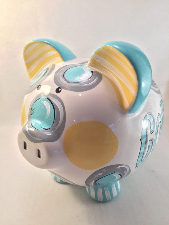 Piggy bank for boys ceramic piggy bank personalized piggy - Ceramic piggy banks for boys ...