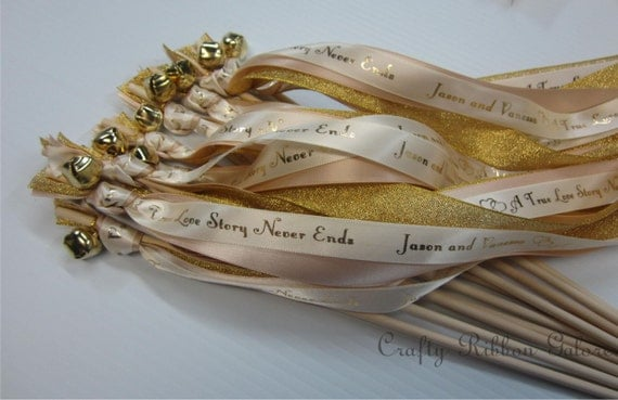 75 Personalized Metallic Wedding Wands Double streamers with bells