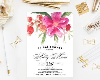 PRINTABLE Bridal Shower Invitation - Hot Pink Hand Painted Watercolor Flower Posy Bridal Shower Invitation - Customizable to any Event