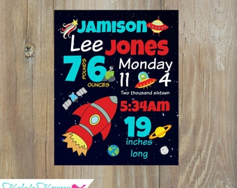 ROCKETSHIP ROOM DECOR - Outerspace Wall Art - Subway Art - Nursery Print - Custom Birth Stat Print - 8x10 Print - Unframed