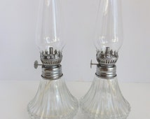 Pair of 9 Inch Hurricane  Oil Lamps by Lamplight Farms. Farmhouse Decor. Cottage Decor