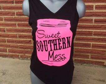 Glitter Sweet Southern Mess Tank