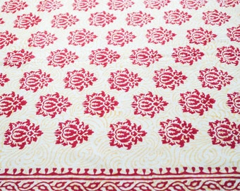 Cotton hand block print in hot pink and yellow cotton fabric
