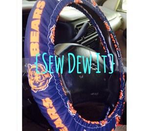 Steering Wheel Cover Chicago Bears NFL Football Navy Blue Orange Da Bears Cute Car Accessories Gift for Her Gift for Him Gift Idea