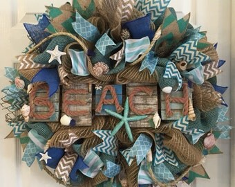 Beach Wreath, Beach Decor, Front Door Wreath,Beach Wedding, Coastal Wreath,Nautical Wreath, Coastal Decor, Nautical Decor,Double Front Door