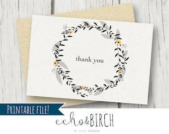 """PRINTABLE Floral Wreath Blank Thank You Card   4x6""""   Instant Download   Printable Stationery"""