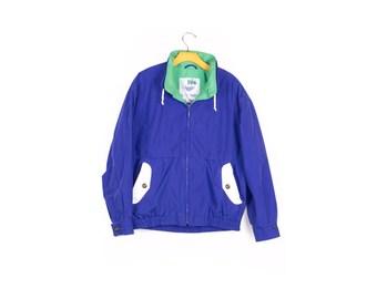 90s LONDON FOG jacket / vintage 1990s /  blue / color block / nautica style windbreaker / medium