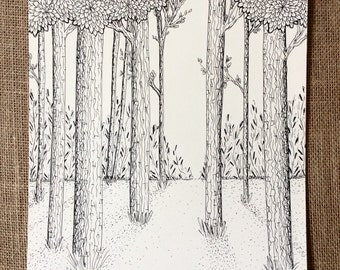 Textured Forest Pen and Ink Drawing