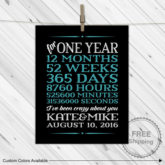 One 1 year anniversary gifts for boyfriend by willowlaneprints for Anniversary gifts for men 1 year
