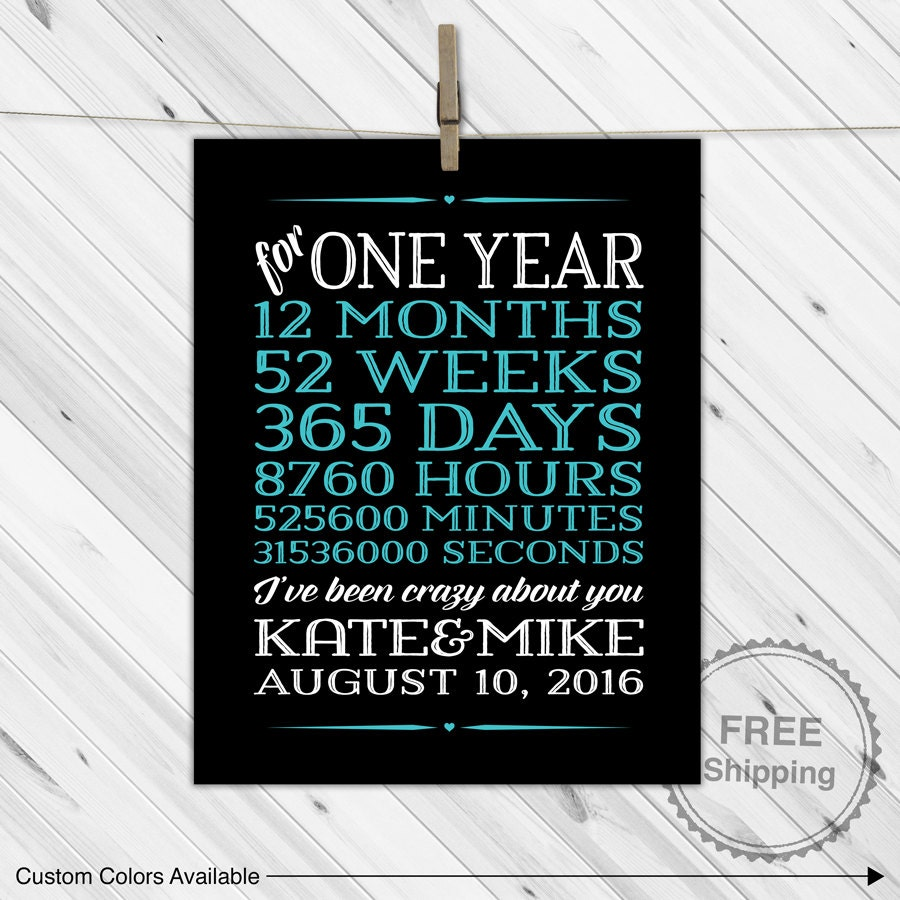 One 1 year anniversary gifts for boyfriend by willowlaneprints for 1 year anniversary gift ideas boyfriend