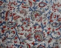 floral Kalamkari Indian block print KalamKari fabric 44'' width 1yards Upholstery Dresses Cotton Fabric - Vegetable Dyed Kalamkari Pattern