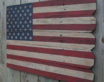 Rustic Wooden American Flag, 20 X 30 inches. Made from recycled fencing. Free Shipping A