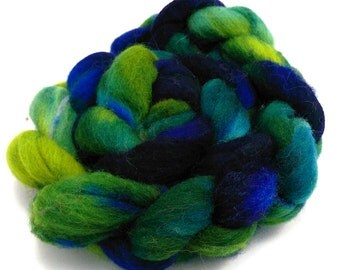 Spinning Fiber, hand dyed wool, combed top, Eider Fibre, 120g