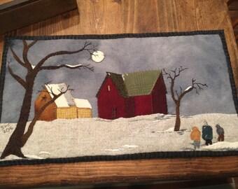 "Pattern ""Home before dark"" wool applique"