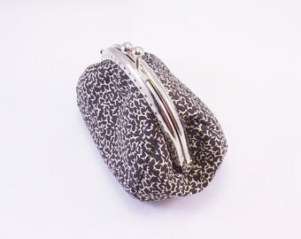 Purse metal clasp 8.5 cm printed fabrics liberty in black cotton