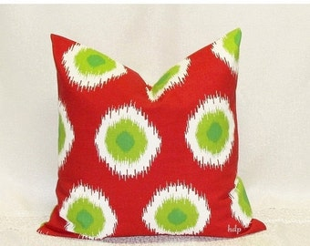 SALE Red Pillows 18 x 18 Inches Christmas Pillow Covers Decorative Ikat Pillows Red and Green Holiday decor