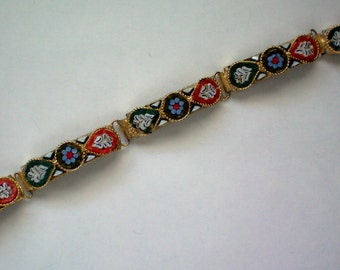 Italian Glass Micromosaic Five Panel Bracelet - 4398
