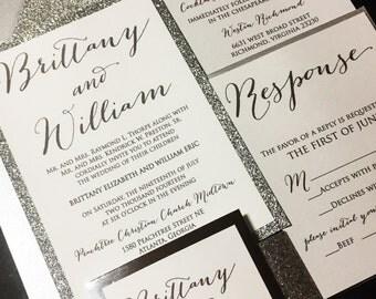 Silver Glitter Wedding Invitation - Glitter Wedding Invitation, Glitter Script Wedding Invitations, Formal Wedding Invitation, Gold, Silver