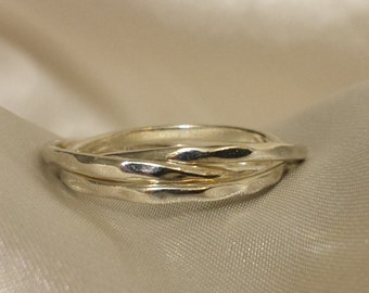 Sterling Silver Hammered Rolling Rings, Russian Wedding Bands, 3 Thin Hammered Bands Ring Shiny Finish