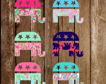 Lilly Pulitzer Inspired Republican Party Elephant Logo Vinyl Decal