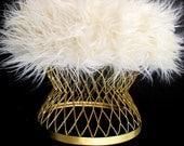 Mid-Century Modern Faux Fur & Gold Metal Footstool
