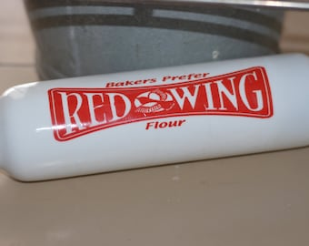 Bakers Prefer RED WING Flour GLASS Rolling Pin
