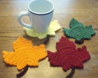 Hand Crocheted Maple Leaf Coasters / Decorations - Set of 4