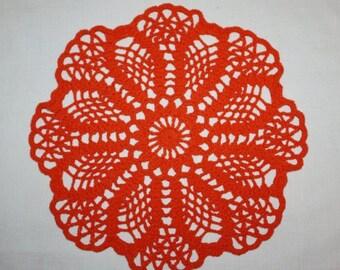 Orange Crochet Doily, Small Round Doily, Lace Doily, Orange Flower Doily, Pineapple Doily, Cotton Doily, 9 inches