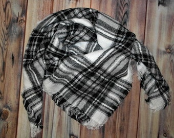 Monogrammed Tartan Plaid Blanket Scarf - Personalized or plain - Black and White