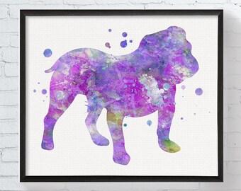 English Bulldog Art, Watercolor English Bulldog, English Bulldog Print, English Bulldog Wall Decor, English Bulldog Ornament, Dog Lover Gift