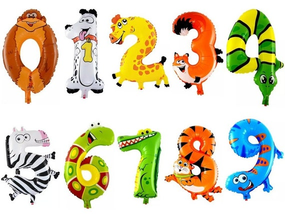 16 cartoon number balloons kids birthday animal balloon 1 2 3 4 5 6 7 8 9 0 mylar foil loons zoo child big day decoration party supplies from c1easy on