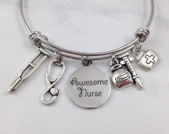 Nurse Charm Bracelet, Nurse Bangle, Nurse Jewelry, Awesome Nurse Bangle, Nurse Gift, Gift for Nurse