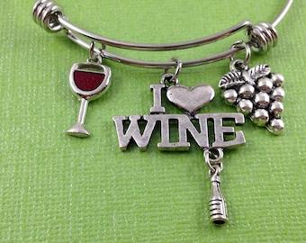 Wine Charm Bracelet, I Love Wine Bracelet, Wine Lover Bracelet, Wine Jewelry, Wine Glass Charm, Grapes Charm, Gift for Wine Lover