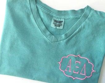 Alpha Xi Delta Sorority Comfort Colors V-Neck Tee Shirt