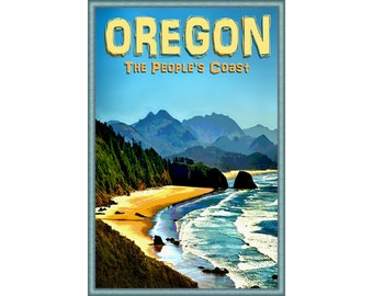 Oregon Coast Poster Cannon Beach Portland Ocean Sea Shore Pacific Northwest Art -available in 4 sizes- Print 283