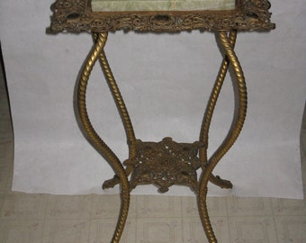 Antique Bradley & Hubbard brass and marble fern stand accent table