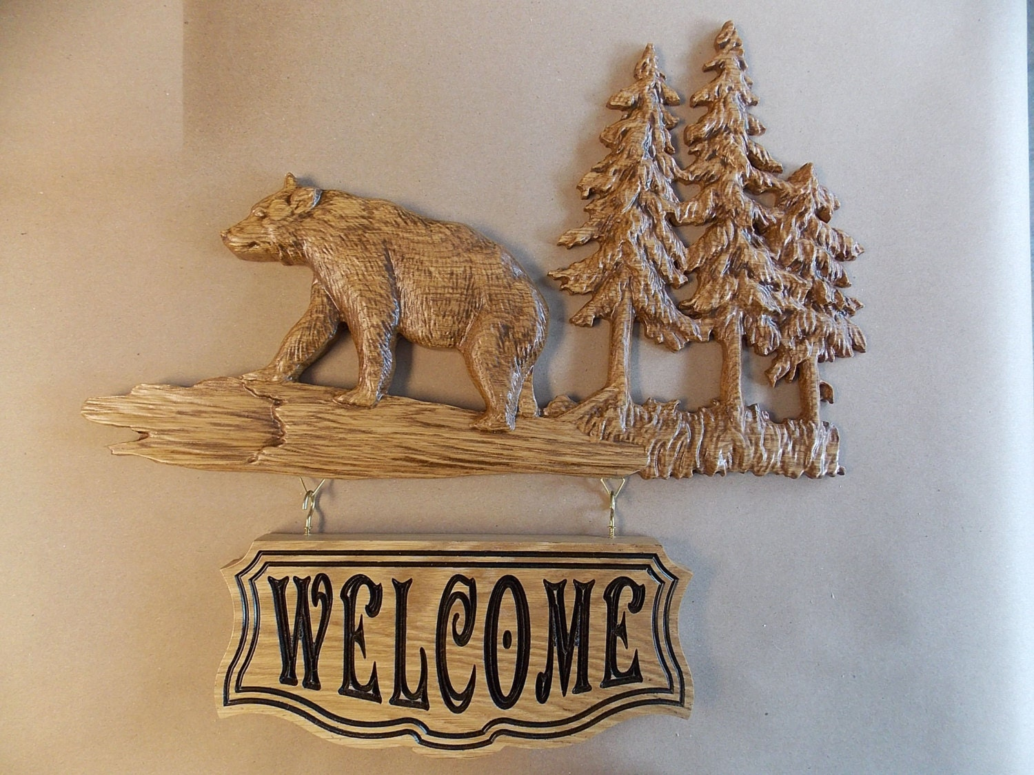 Bear welcome sign rustic cabin decor bear wood bear wall for Rustic bear home decor