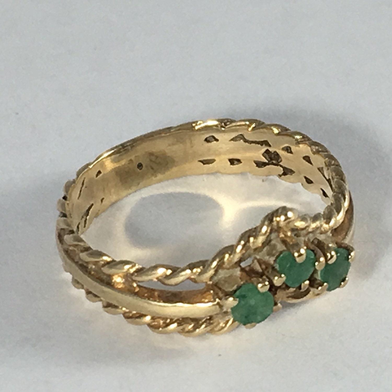 vintage emerald wishbone band 9k yellow gold unique