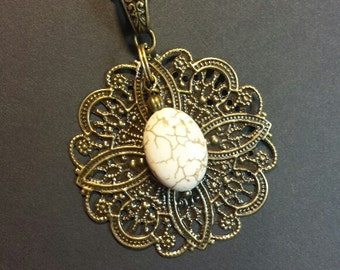 Pendent Necklace, Filigree Necklace, Boho Necklace, Magnesite Necklace, Bronze Necklace