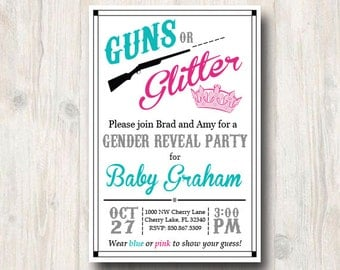 Guns or Glitter Gender Reveal Invitation - Gender Reveal Invite - Printable Party Invitation