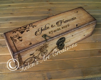 Personalized Wedding Wine Box, Custom Engraved Keepsake Box, French Theme, Rustic Time Capsule, Bicycle , Heirloom, Lamp, Whimsical, Engrave
