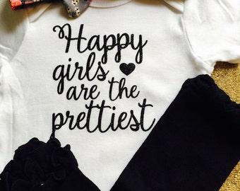 Happy Girls Are The Prettiest Onesie, Baby Shower Gift, Audrey Hepburn