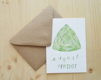 August Birthday Card - August Birthstone Card - Peridot Birthstone Card - Watercolor Birthday Card