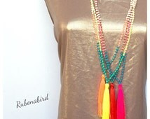 Neon Tassel Necklace / Turquoise beads / Mala Beads / Long beaded necklace / trending layering / handmade gift birthday / Etsy Rubenabird