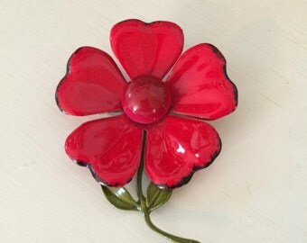 Vintage Red Enamel Flower Pin/Brooch