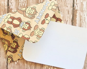 Monkey Mini Cards, Blank Cards, Small Stationery, Gift Cards, Enclosure Cards, Favor Cards, Mini Card Set, Patterned Envelopes, Set of 4